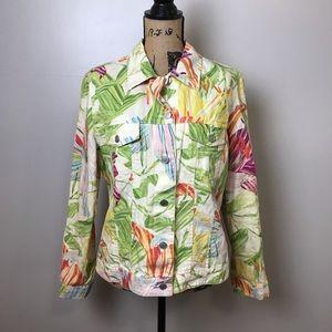 Chicos 55% Linen/45% Cotton Tropical Floral Button